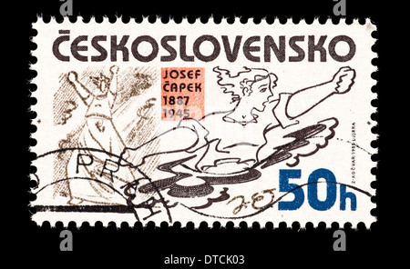 Postage stamp from Czechoslovakia depicting 'Fire' and 'From The Concentration Camp' by Joseph Capek (anti-fascist - Stock Photo