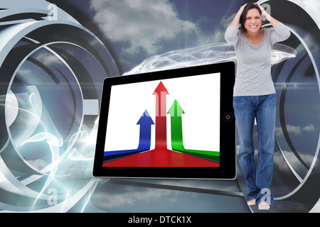 Composite image of angry young woman - Stock Photo