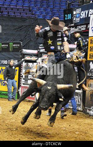 St. Louis, Missouri, USA. 14th Feb, 2014. February 14, 2014: Rider Fabiano Vieira (17) on bull Bad Black during - Stock Photo