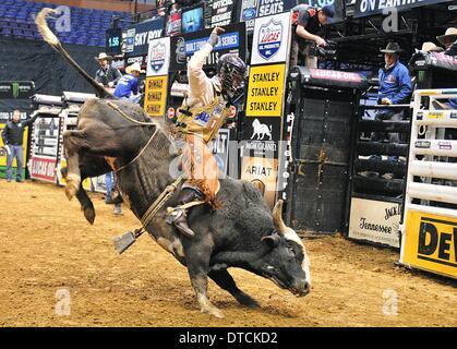 St. Louis, Missouri, USA. 14th Feb, 2014. February 14, 2014: Rider Chase Outlaw (13) on bull Half Throttle on bull - Stock Photo