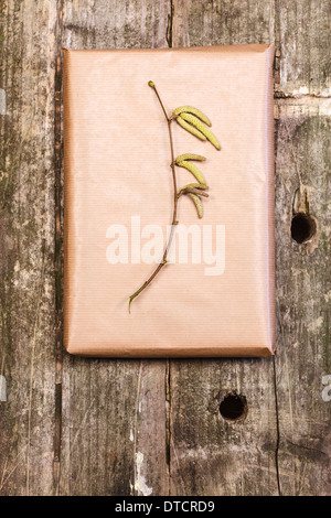 Wooden background with a gift, hazelnut branch - Stock Photo
