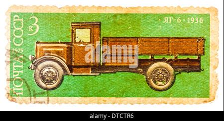 RUSSIA - CIRCA 1975: stamp printed in Russia, shows retro truck, circa 1975 - Stock Photo