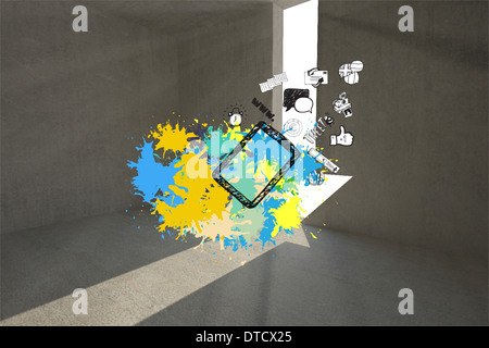 Composite image of tablet applications on paint splashes - Stock Photo