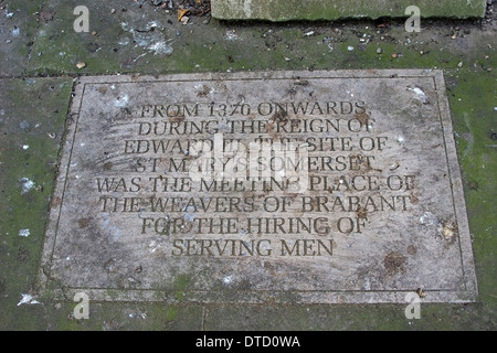 A stone plaque on the ground outside St Mary Somerset Tower, London, England. - Stock Photo
