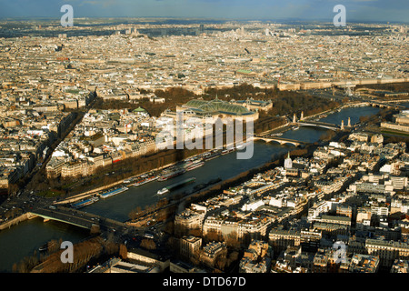 Aerial view of Paris architecture and the River Seine from the Eiffel tower. - Stock Photo