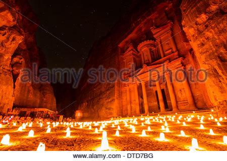 The Treasury At Petra By Candle Light, Petra, Jordan - Stock Photo