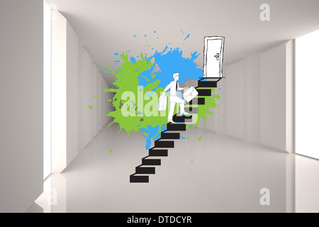 Composite image of career progression concept on paint splashes - Stock Photo