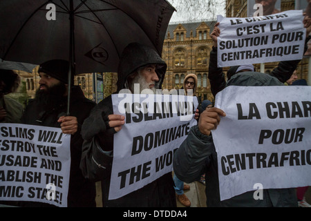 Radical Islamists protest outside French Consulate in London - Stock Photo