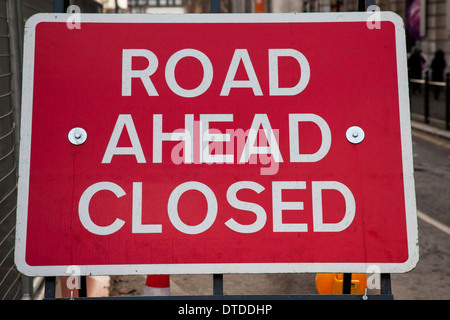 A road closure sign at road works in London, UK - Stock Photo