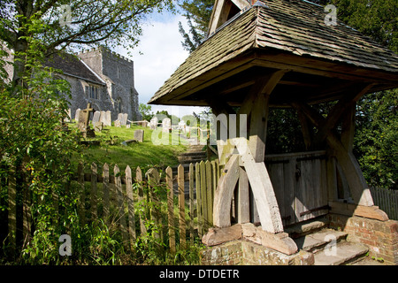 St Nicholas Church (One of oldest Norman churches in Sussex) and lych gate, village of Bramber, West Sussex, England, - Stock Photo