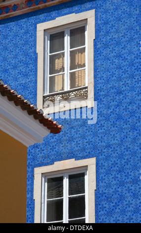 Buildings with Azulejos Ceramic Tiles in Praca da Republica, town centre of Sintra, near Lisbon, Portugal - Stock Photo