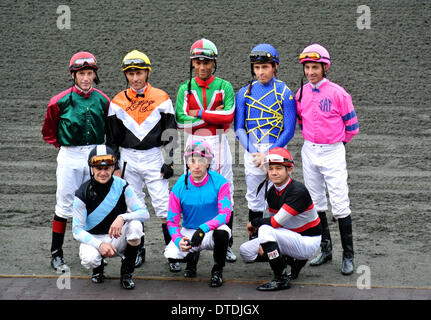 jockeys for the 2014 El Camino Real derby at Golden Gate Fields pose for photographer before the race won by Jockey - Stock Photo
