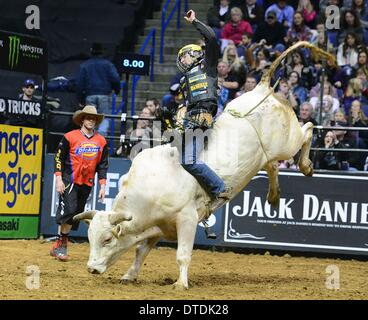 St. Louis, Missouri, USA. 15th Feb, 2014. February 14, 2014: Rider Chase Outlaw on bull Lil Lanche during the Professional - Stock Photo