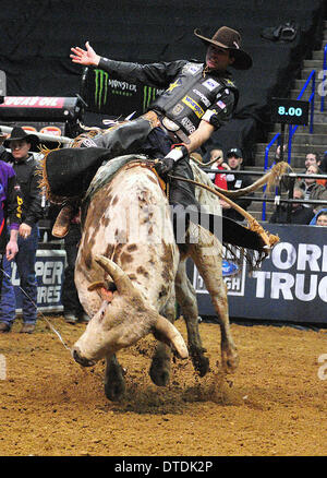 St. Louis, Missouri, USA. 15th Feb, 2014. February 14, 2014: Rider Fabiano Vieira on bull Pistol Pete during the - Stock Photo