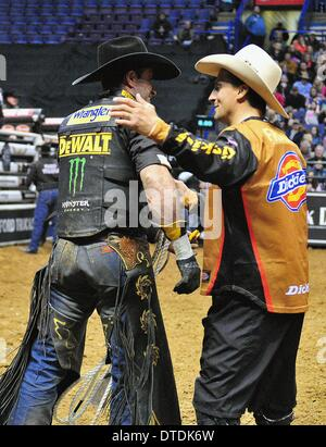 St. Louis, Missouri, USA. 15th Feb, 2014. February 14, 2014: Rider Guilherme Marchi is congratulated after his ride - Stock Photo