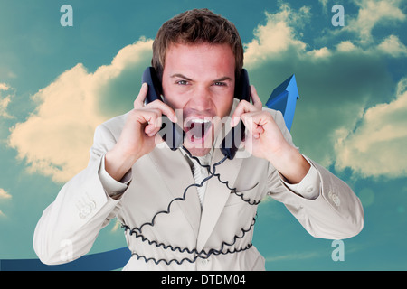 Composite image of confident businessman having a phone call - Stock Photo