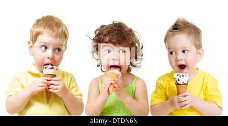 funny kids boys and girl eating ice cream cone isolated on white - Stock Photo