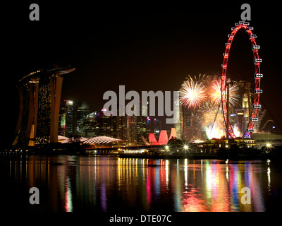 Garden By The Bay East Firework ferris wheel, art and science museum, marina bay sands hotel at