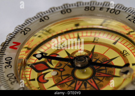 Survival skills concept - Close-up of compass rose and magnetic bearing. Concept navigation. - Stock Photo