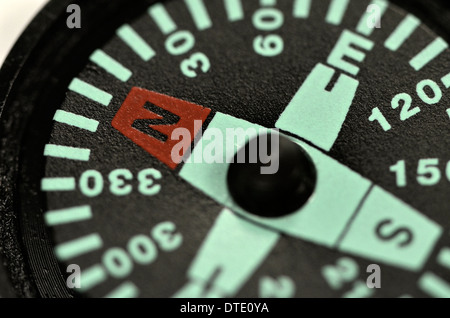Survival skills concept - Extreme close-up of compass rose and magnetic bearing. Concept navigation. - Stock Photo