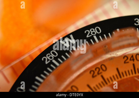 Survival skills concept - Close-up of compass rose segment. Concept navigation. - Stock Photo