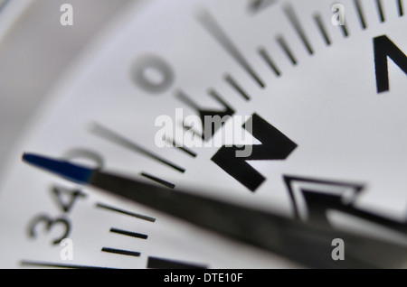 Finding your direction / Survival skills concept - Close-up of compass rose and magnetic bearing. Concept navigation, - Stock Photo