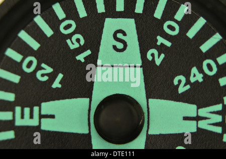 Survival skills concept - Extreme close-up of compass rose and magnetic bearing. South direction. Concept navigation. - Stock Photo