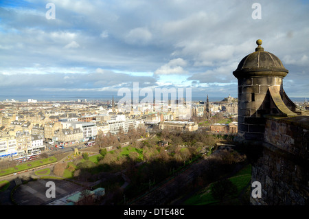 View over the New Town of Edinburgh to the Firth of Forth from Edinburgh Castle, Scotland - Stock Photo