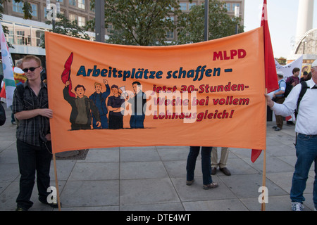 'Herbstdemo' for higher wages and against Hartz IV, Berlin. - Stock Photo