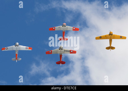 The Roaring 40s formation team of New Zealand, flying North American T-6 Texans / Harvards. - Stock Photo