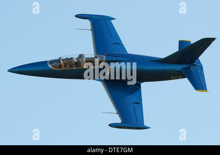 The Aero L-39 Albatros is a high-performance jet trainer aircraft developed in Czechoslovakia that first flew in - Stock Photo