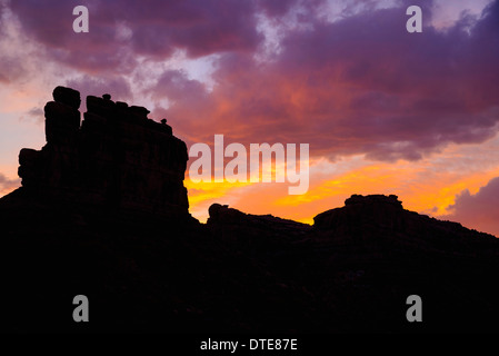 Sunset over the Valley of the Gods, Utah, USA - Stock Photo