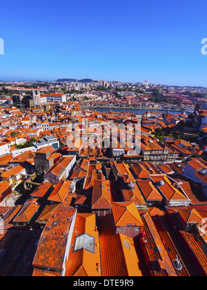 Red Roofs - view from Clerigos Tower in Porto, Portugal - Stock Photo