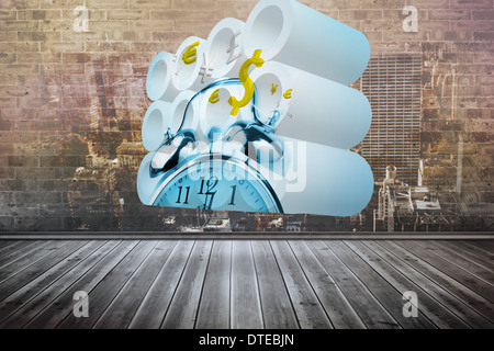 Composite image of time is money concept on abstract screen - Stock Photo