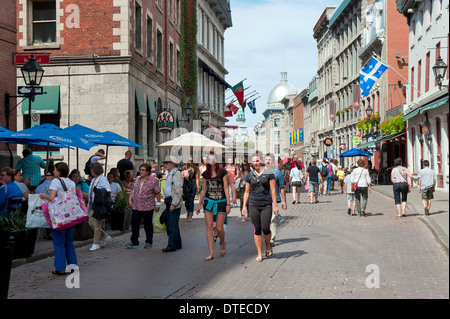 St Paul street in summer, Old Montreal, province of Quebec, Canada. - Stock Photo