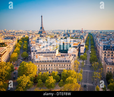 View on Paris at sunset - Stock Photo