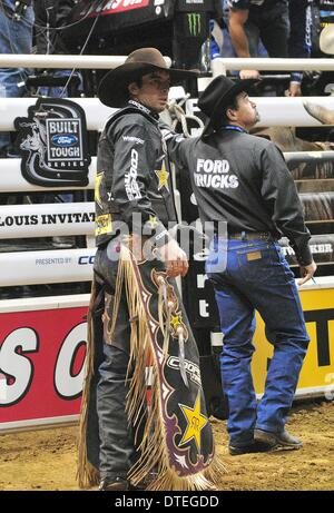 St. Louis, Missouri, USA. 16th Feb, 2014. February 16, 2014: Rider Fabiano Vieira after riding bull Soldier Boy - Stock Photo