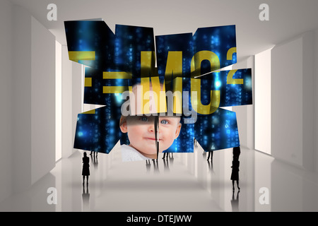 Composite image of baby genius on abstract screen - Stock Photo