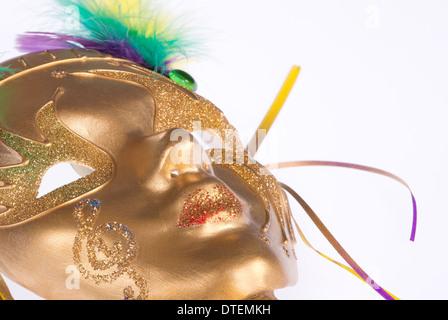 Golden Mardi Gras mask - Stock Photo