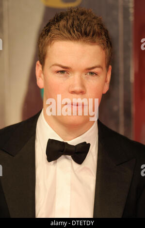 London, UK, 16/02/2014 : Red Carpet Arrivals at the EE British Academy Film Awards. Persons Pictured: Will Poulter. - Stock Photo