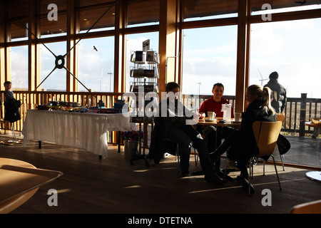 Cafe and viewing deck in the Whitelee windfarm visitor centre at Fenwick Moor near Glasgow Scotland - Stock Photo
