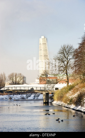 Turning Torso tower in West Harbour district, Malmo - Stock Photo