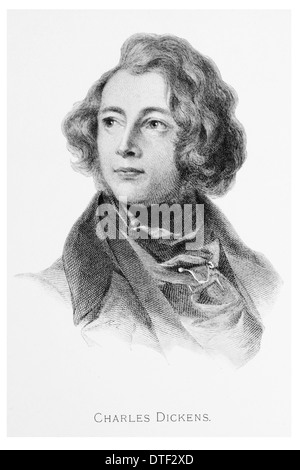 Charles Dickens aged 27 - Stock Photo