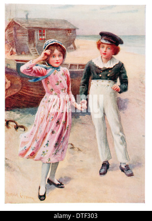 David Copperfield and Emily Illustration from the Novel by Charles John Huffam Dickens - Stock Photo