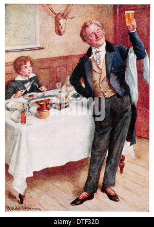 David Copperfield and the friendly waiter Illustration from the Novel by Charles John Huffam Dickens - Stock Photo