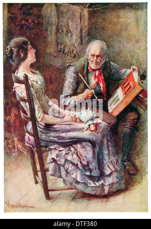 Caleb Plummer and his blind daughter Illustration from the Novel The Cricket on the Hearth by Charles John Huffam - Stock Photo