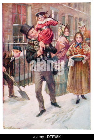 Bob Cratchit and Tiny Tim Illustration from the Novel A Christmas Carol. by Charles John Huffam Dickens - Stock Photo