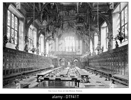 The Great Hall of the Middle Temple One of four Inns of Court Circa 1890 - Stock Photo