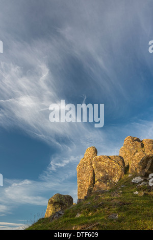 The distinctive dolerite outcrop of Walltown Crags near Greenhead in Hadrian's Wall Country, Northumberland, England - Stock Photo
