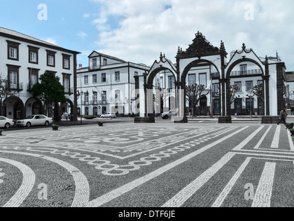 urban scenery at Ponta Delgada, capital city of the Azores at São Miguel Island, the biggest island of the Azores - Stock Photo